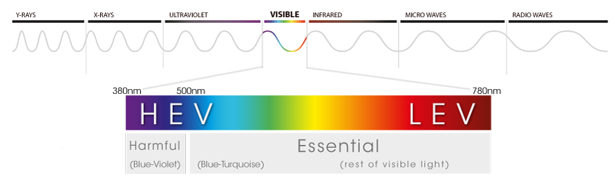 Visible light (380 -780 nm) in the electromagnetic spectrum. HEV-high energy visible; LEV-low energy visible