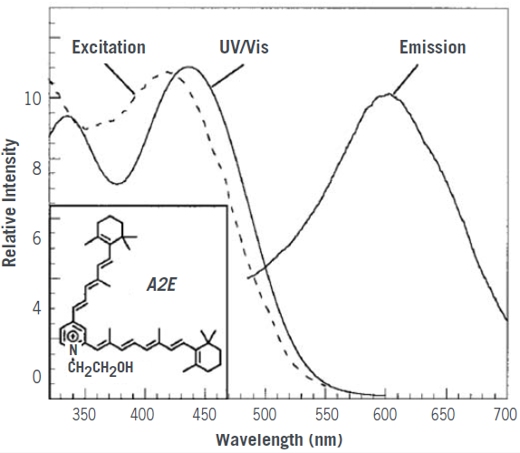 UV/Vis, excitation, and emission spectra of A2E in methanol